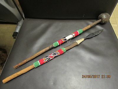 Tribal art african Zulu Ceremonial Spear and Club with beadwork