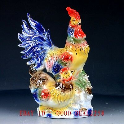 Chinese Porcelain Handwork Carved Two chickens Statue CX001