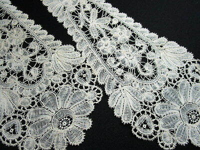 Lovely Antique Edwardian Brussels Lace Lappet, Scarf, All Hand Made