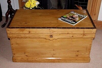 Superb Antique Victorian Pine Dovetailed Blanket Box, Coffee Table, Chest