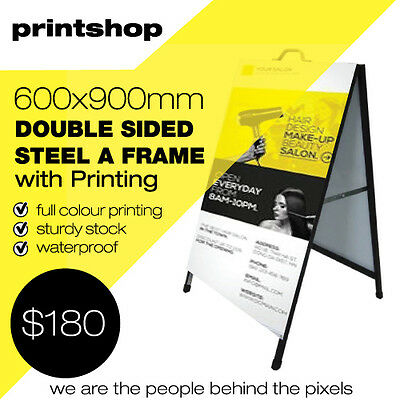 Metal A Frame/Sign PRINTING INCLUDED Sandwich Board 900x600mm Aussie Seller