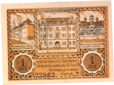 1921 Germany ABSTIMMUGSNEBIET 1 MARK Notgeld / Banknote