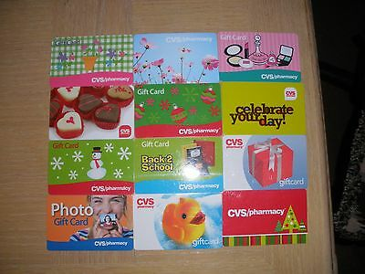 C V S   12 different new collectible gift cards