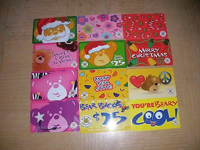 Build-A-Bear  12 different new collectible gift cards