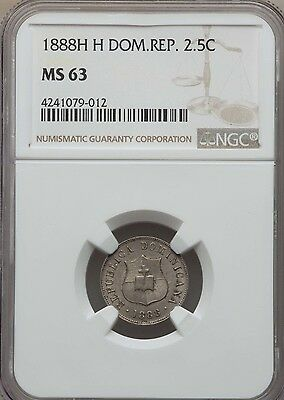 1888 H H Dominican Republic 2.5, 2 1/2, Centavos, NGC MS 63