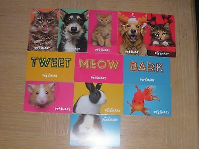 PetSmart  12 different new collectible gift cards