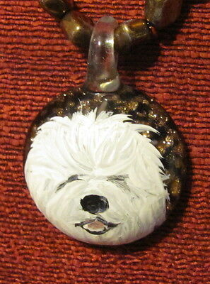 Old English Sheepdog hand painted round glass pendant/bead/necklace