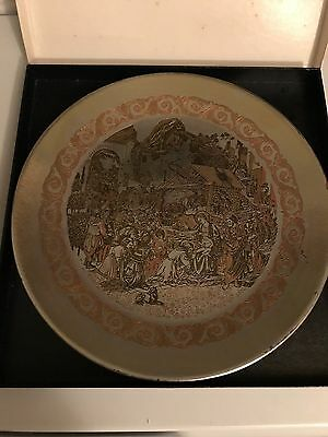 Reed and barton limited edition handcrafted plate 1974 Christmas Damascene
