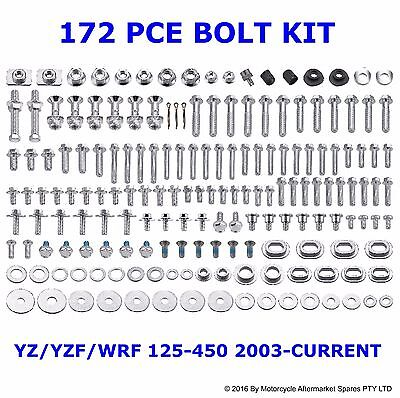 172 Piece BOLT KIT for YAMAHA YZ125 YZ250 YZ250F YZ450F WR250F WR450F 2003 to 17