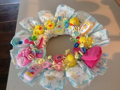Diaper Wreath For Baby   Girl 1 Doz Size 2 Diapers