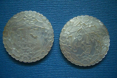 Two 2 Antique Chinese Carved Mother Of Pearl Gaming Chips Counters