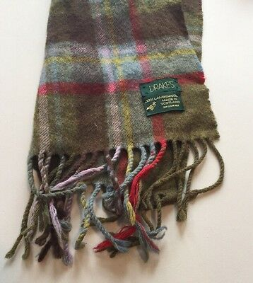 Drake's 100% Lambswool SCARF Made in Scotland Green Red Plaid EUC