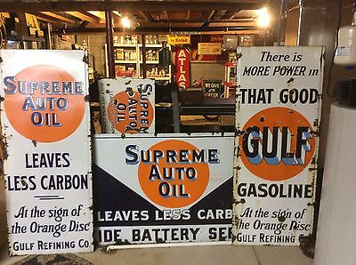 """Rare Offering:  """"Gulf"""" Signs-(All 4!!!!! For One Amount) Very Old Originals"""