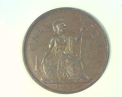 Great Britain 1937 Penny Km845  About Uncirculated  ~Ma47