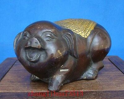 Antique Collectible Handmade Statue Bronze Pig Deco Art