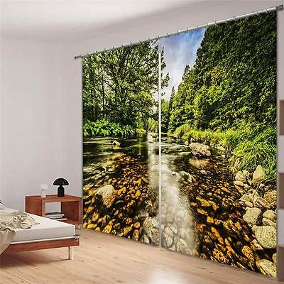 Stones Clear River 3D Blockout Photo Mural Printing Curtains Draps Fabric Window