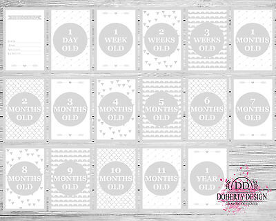 New 'GREY & WHITE' Milestone Cards (28 Cards Per Pack) {Photo Props}
