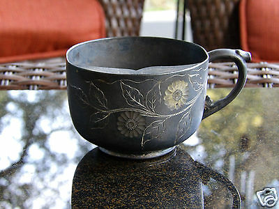 Vintage Silver Plate Mustache Cup 1880s - 1890s Manhatten Silver Co.