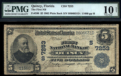 $5 1902 Plain Back First National Bank of Quincy, Florida CH 7253  ONLY 14 LARGE