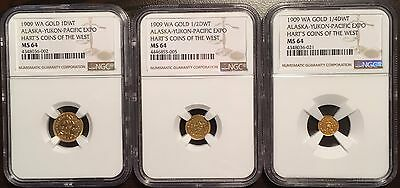 1909 AK AYPE Gold DWT Set (1 & 1/2 & 1/4 DWT)-Hart's Coins of the West-NGC MS64