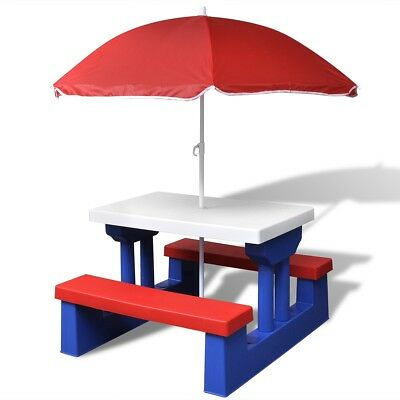 #Kids Picnic Table PP Outdoor Garden Bench Set Chair w/ Umbrella Parasol Red