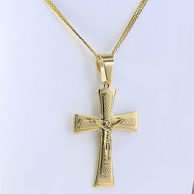 "18K Gold 316L Stainless Steel Big Jesus Cross Pendant 20"" Curb Cuban Chain"