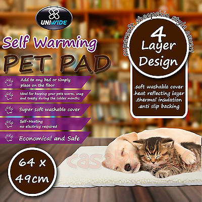 Self Warming Pet Pad Pads Mat Dog Cat Puppy Fleece Bed Machine Washable 64x49cm
