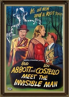 Abbott & Costello Meet the Invisible Man, Movie Poster Painting, Oil on Canvas