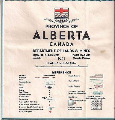 Vintage Map Province Of Alberta Canada 1941 Department Of Lands & Mines