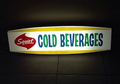 RARE 1960's SQUIRT SODA ADVERTISEMENT DISPLAY SIGN BEVERAGES FLUORESCENT LIGHT