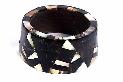 Indian Wood Bangle Boho Mosaic Bracelet Mother Of Pearl Inlay Bracelet. i8-23
