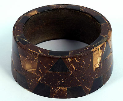 Vintage Jewelry Indian Stylist Wood Bangle Beautiful Mosaic Inlay Bracelet.i8-11