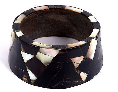 Indian Wood Bangle Boho Mosaic Bracelet Mother Of Pearl Inlay Bracelet. i8-10