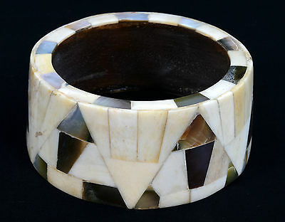Vintage Indian Wood Bangle Bone & Mother Of Pearl Inlay Bracelet/ Bangle. i8-30
