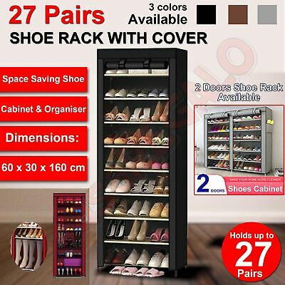 10 Tier Shoe Rack Cabinet Storage Organiser Portable Wardrobe With Cover