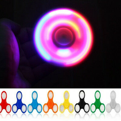 LED Flash Fidget Hand Spinner For Adults Children Anti Stress Focus Gyro Gifts