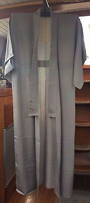 Lovely Grey To Mauve Vintage Japanese Full Length Kimono