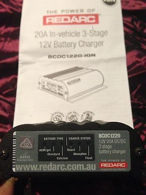 REDARC BCDC1220IGN DC DC Charger Dual Battery Isolator 20 Amp 12V Deep Cycle AGM