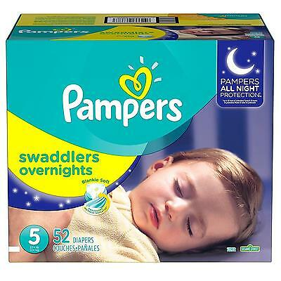 Pampers Swaddlers Overnites Diapers Size 5, 52 Count