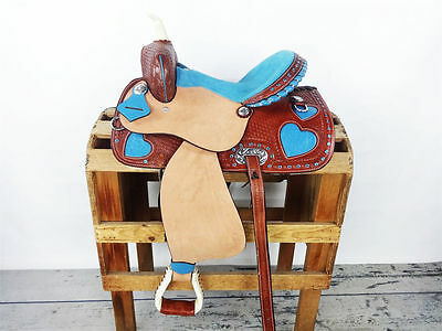 "14"" Blue / Turquoise Heart Bling Rough Out Horse Leather Saddle"