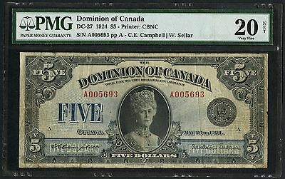 """Canada #dc-27 $5 1924 """"queen Mary"""" Pmg 20 Vf Net (Only 83 Known) Wlm3387"""
