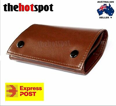 Tan Brown Leather Cigarette Tobacco Pouch Bag Case Filter Rolling Paper Birthday
