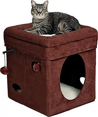 Midwest Home For Pets Curious Cat Cube, Brown Suede