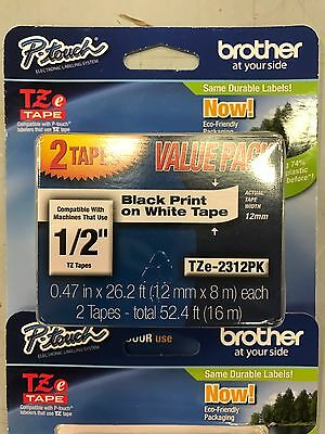 "2 Pack Brother P-Touch TZE231 TZ-231 TZE2312PK 1/2"" Black/ White Label Tape"