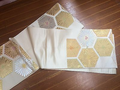 Lovely Flower Patterned Beige & Gold Vintage Japanese Obi (Sash)