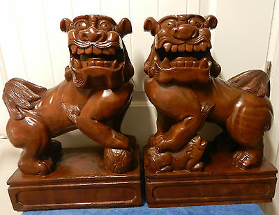1920's Large Pair Of Antique Chinese Carved Hardwood Foo Dogs Great Detail LOOK