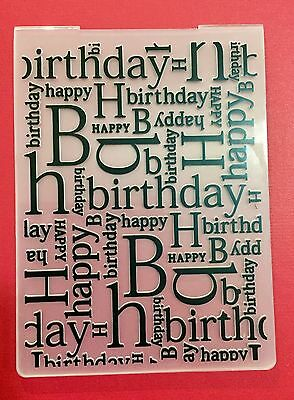 NEW• Happy Birthday Word Sentiment Embossing Folder For Cuttlebug Or Sizzix