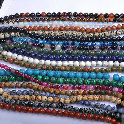 Lots Natural Round Spacer Gemstone Loose Beads For Jewelry Making 4/6/8/10/12mm