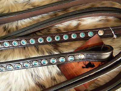 Dark Oil Turquoise BLING Soft & Supple Quality Western Split 8' Reins Horse Tack