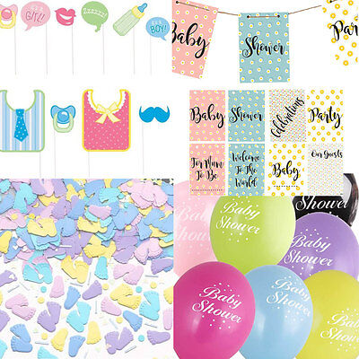 Baby Shower Decorations Party Pack Unisex Boy Girl Confetti Banners, balloons